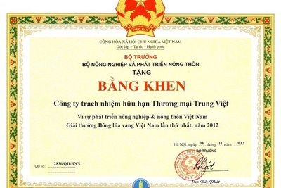 Bằng khen Bộ Nông nghiệp PTNT - Giải thưởng Bông Lúa Vàng