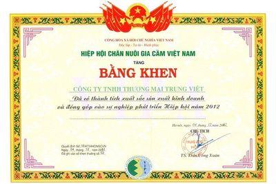 Bằng khen Hiệp hội Chăn nuôi Gia Cầm Việt Nam