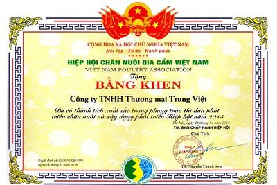Bằng khen Hiệp hội Chăn nuôi Gia Cầm Việt Nam năm 2015