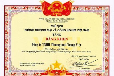 Bằng khen Phòng thương mại và công nghiệp Việt Nam