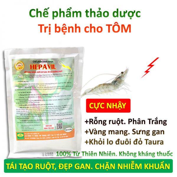 thảo dược hepavil trị bệnh trên tôm cá ếch