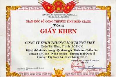Giấy khen Sở công thương tỉnh Kiên Giang