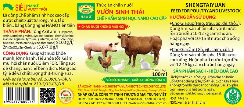 Thức ăn cho gia súc, gia cầm VƯỜN SINH THÁI